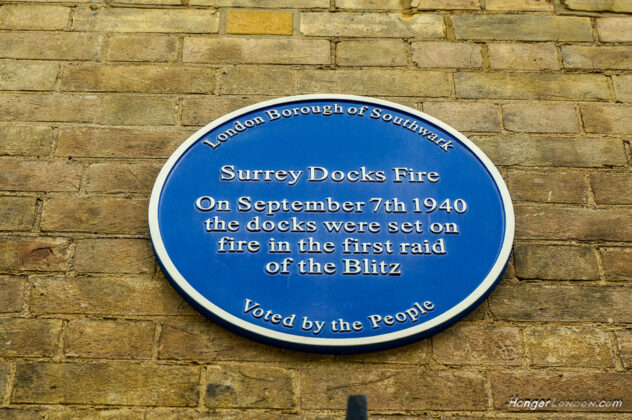 Site of the first Blitz bombdrop Surrey Docks London 7th Sept 1940