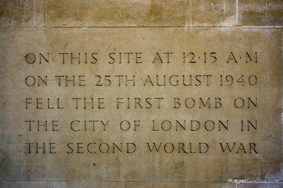 25th August first bomb drop city of London WW2 1940 memorial stone EC2 at what is now Salters' Company