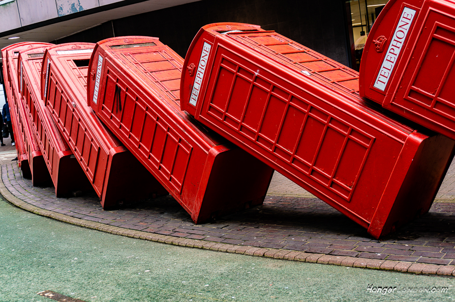 """K6 Telephone box artwork Kingston upon Thames. By David Mach 12 boxes entitled """"Out of Order"""""""