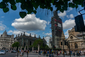 August 2018 View of Big Ben under cover.