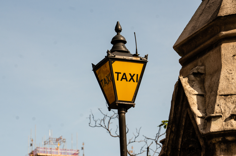 Vintage style Taxi stand lamp outside the Houses of Parliament Westminster