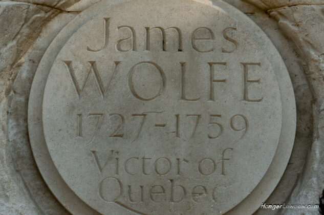 James Wolfe Statue Greenwich stone text