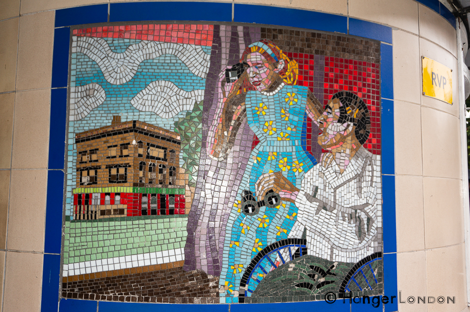 "Grace Kelly took the role in the Hitchcock Film ""Rear Window"" This is one of the Mosaics in Leytonstone station in tribute to the Director."