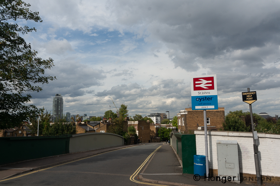 St Johns Rail station this road over the bridge is St. Johns Vale,Lewisham SE8 4EW. With this view behind you walk follow the signs for Lewisham College Lewisham Way A20 the main road ahead.