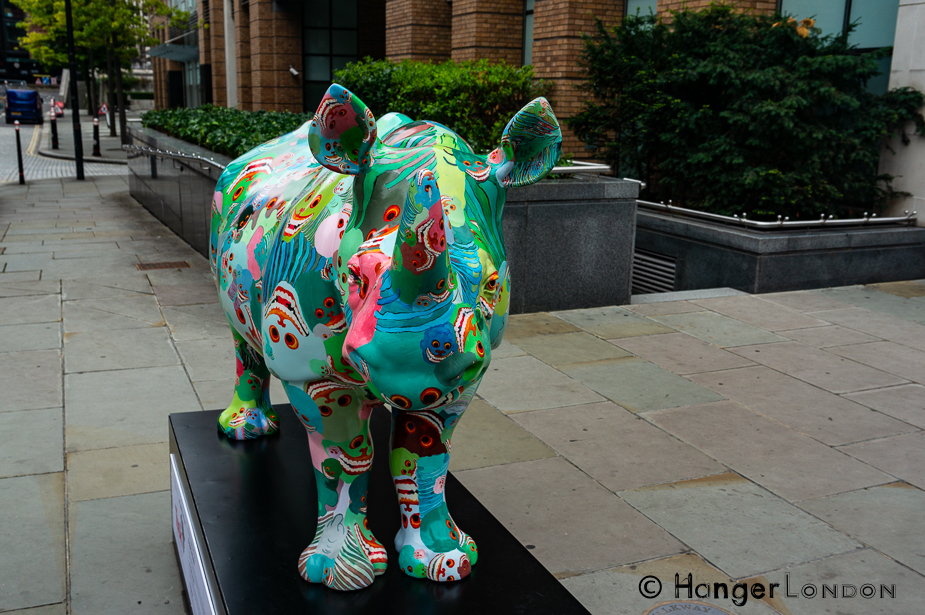 Rhino 19 By Artist Zhang Huan poppy and Skulls