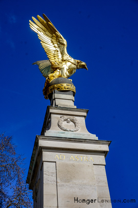 RAF memorial Eagle at the Embankment Thames London. Opened in 1923, Grade II listed in 1958 and by 2018 Grade II* listed