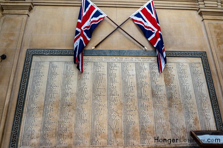 War memorial area of Stoke Newington Library