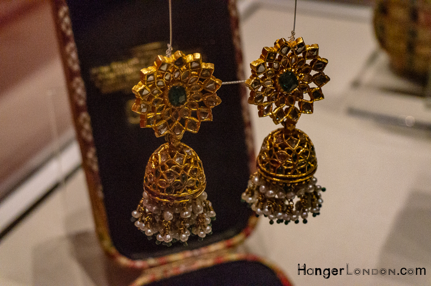 Karanphool Jhumka. gold Earrings Empire of the Sikhs Exhibition Brunei Gallery