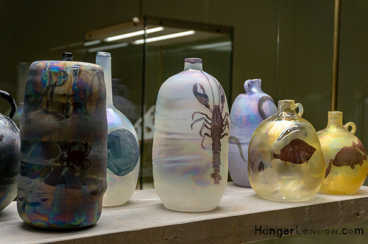 Curve Gallery Barbican Artist Francis Upritchard delicate coloured glass/ ceramic style pots urns jars