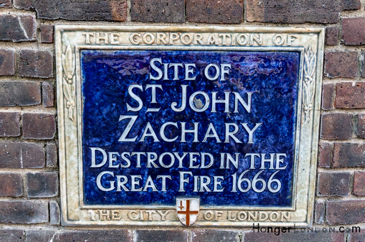 "Plaque Blue Corporation of London ""Site of ST John Zachary Destroyed in the Great Fire 1666"