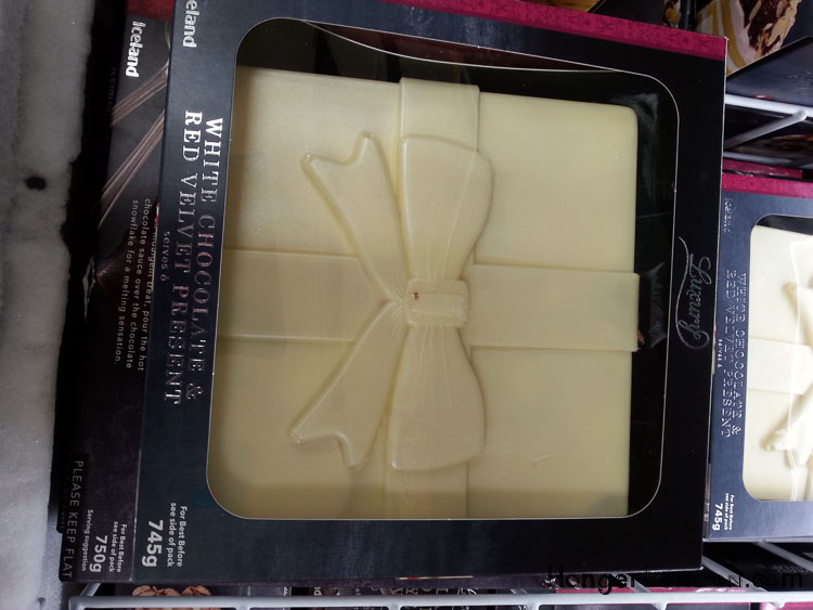 White chocolate present box shaped cake Iceland