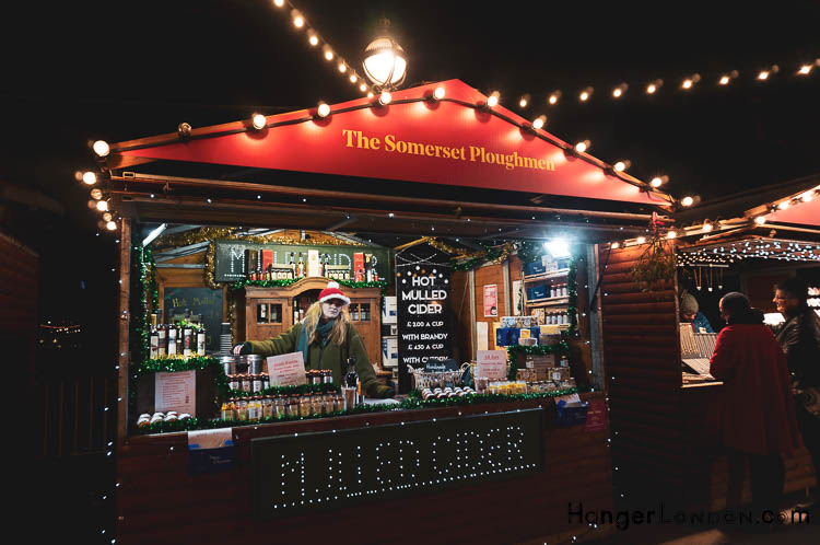 Somerset Ploughman Stall Southbank Winter Christmas Market Mulled cider one example