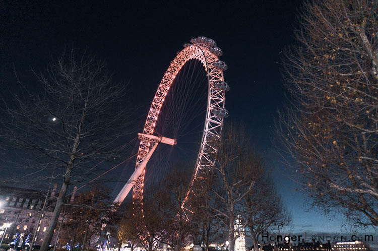 The London Eye as Autum turns to Winter Night view Southbank