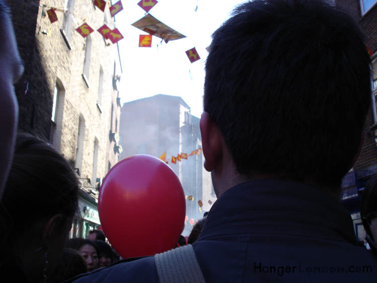 Red balloon and firecrackers new year celebrations