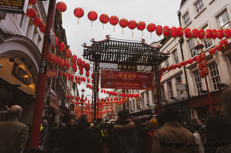 Red chinese lanterns China Town London