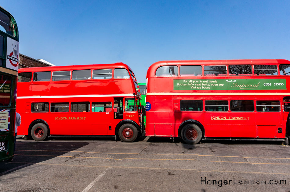 two red RT buses