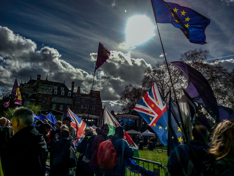 March skies Brexit activists