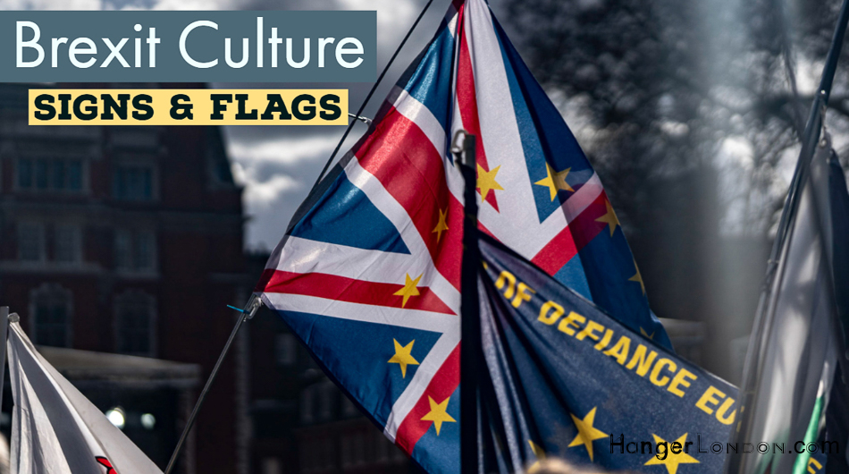 Brexit Visual Journey signs flags and slogans