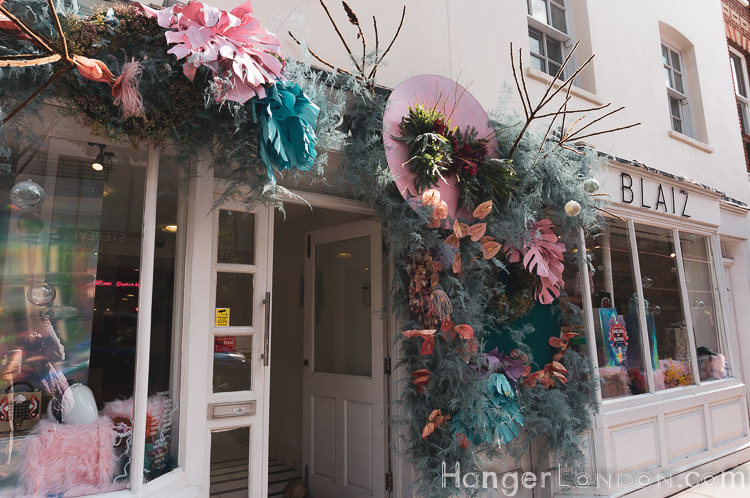 Store front of Blaiz in bloom rubber plant style leaves in pastel shades