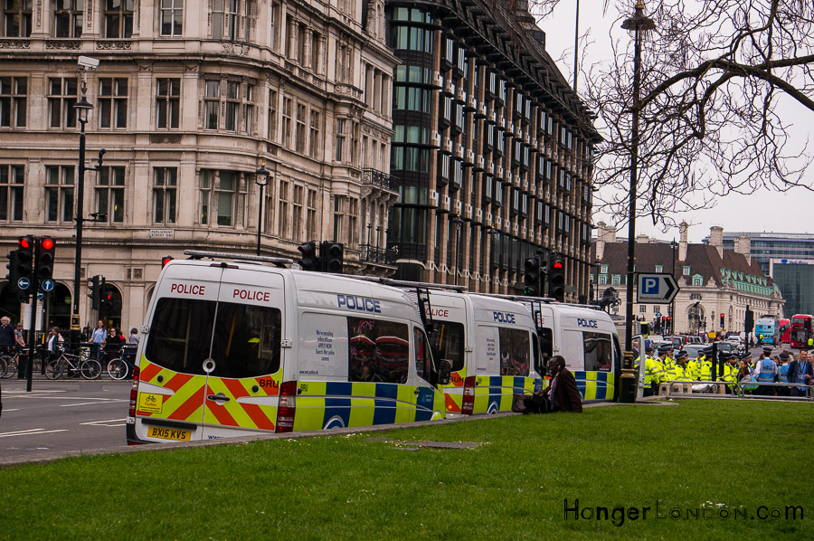 Police at the Climate change protests central London Westminster